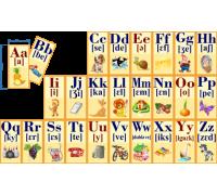 """Набор магнитных карточек """"Французский АЛФАВИТ"""" с транскрипцией и картинкой"""