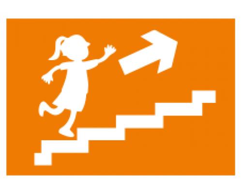 """Наклейка """"Запасной выход"""" направление к эвакуационному выходу по лестнице вверх (правосторонний)."""