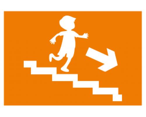 """Наклейка """"Запасной выход"""" направление к эвакуационному выходу по лестнице вниз (правосторонний)."""